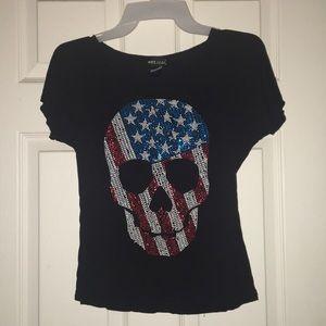 american flag skull on a black tee